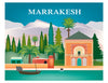 Marrakesh skyline print, Morocco print, Marrakesh garden print, Loose Petals city art Karen Young, Moroccan gift