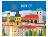 Munich skyline art print, Munich artwork, Loose Petals city art by artist Karen Young, Munich housewarming gift, handmade Munich gift, handmade Munich Baby gift, print on demand