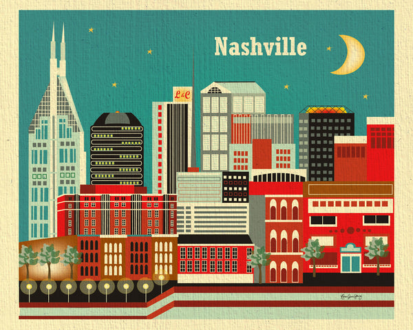Nashville skyline artwork, Nashville art print, small Nashville Art, handmade Nashville Souvenir, handcrafted Nashville Gift, Loose Petals city art by artist, Karen Young, print on demand art, Nashville office art, Nashville Wedding gift, Nashville baby art, Nashville housewarming gift