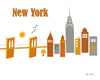 New York, New York - Brooklyn Bridge Skyline