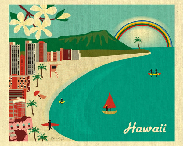 Hawaii art print, Honolulu skyline, Hawaii wall art, Karen Young Loose Petals