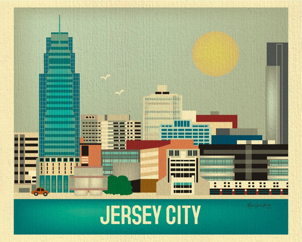 Jersey City skyline art print, small Jersey prints, 8 x 10, 11 x 14 New Jersey, Karen Young Loose Petals city art prints Jersey City