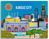 Kansas City wrapped canvas print, KC Missouri large canvas prints, Kansas City MS canvas prints, Karen Young Loose Petals City canvas art Kansas City