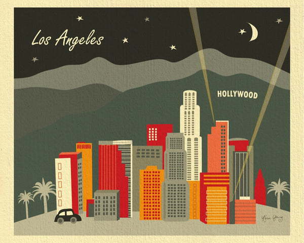 Los Angeles print, Hollyood print, LA California small prints, 8 x 10, 11 x 14, Karen Young Loose Petals City art Los Angeles