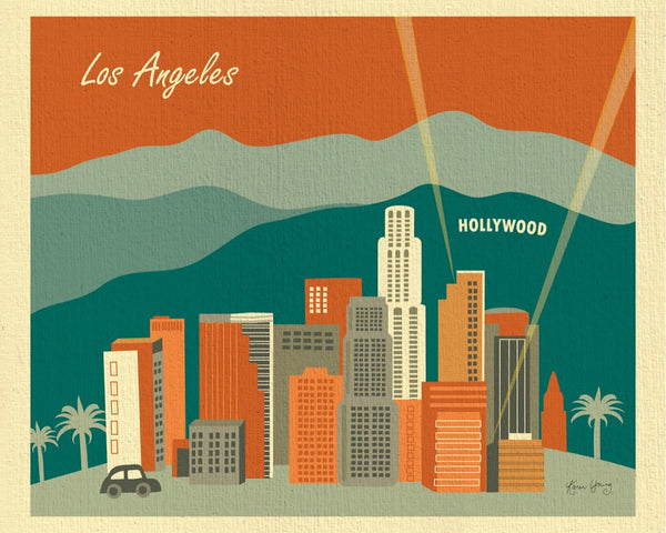 Los Angeles art print, Hollywood Hills California poster, Loose Petals city art by Karen Young, LA Sunset, terracotta and teal green colors
