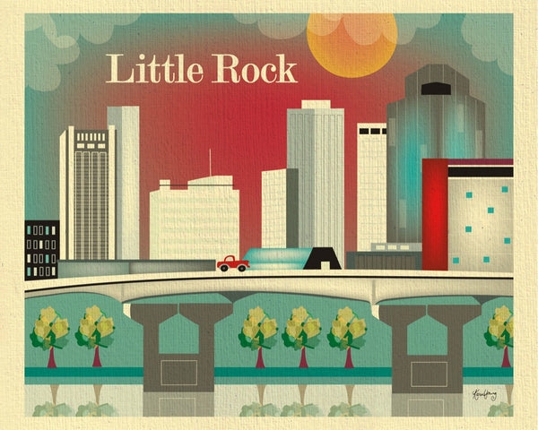 Little Rock art print, Little Rock 8 x 10, Little Rock 11 x 14 print, Karen Young Loose Petals Southern city art print, Little Rock AK