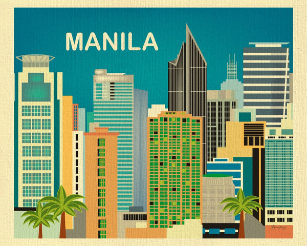 Manila art prints, Manila skyline wall art,  Philippino wall decor, Karen Young Loose Petals City art print, small city prints Manila, Asia, Phillipines