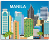 Manila skyline canvas print, large Manila canvas,  Philippino artwork, Karen Young Loose Petals City art wrapped canvas, giclee canvas Manila, Asia, Phillipines
