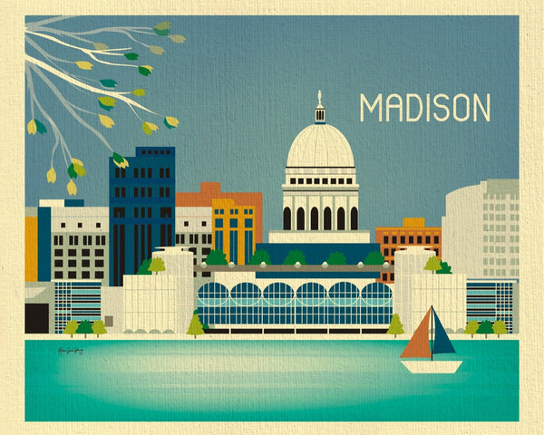 Madison skyline print, Wisconsin print, Madison Gift, Madison city wall art by Loose Petals, Karen Young, small madison wi print, 8 x 10, 11 x 14 prints