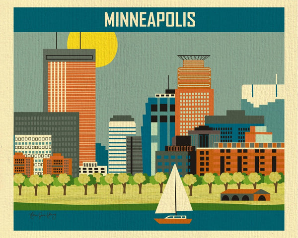 Minneapolis skyline art print, Minnesota print, Loose Petals Midwest City art, artist Karen Young, handmade Minneapolis gift, high quality Minneapolis souvenirs, Minneapolis note cards, 8 x 10 print, 11 x 14 prints