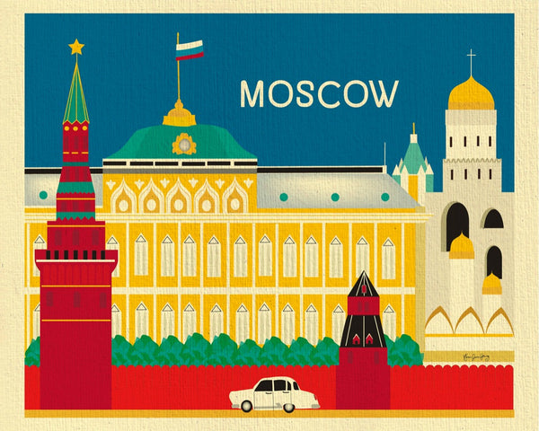 Moscow artwork, Russia travel print, small Moscow prints, Loose Petals city prints by artist, Karen Young, handmade moscow gift, handcrafted moscow souvenirs, russian baby, russian nursery