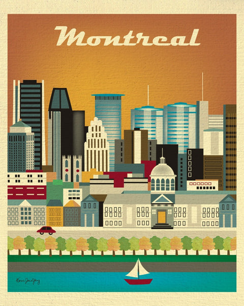 Montreal skyline print, Canada print, Canadian baby gift, Montreal Wedding gift, handmade Montreal gift, handcrafted Montreal souvenir, Loose Petals Montreal city print, small Montreal artwork, art by Karen Young