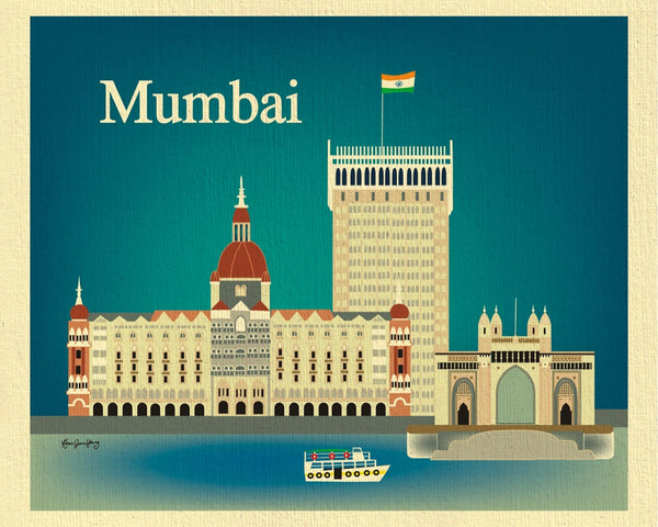 Mumbai skyline print, India print, handcrafted Mumbai gifts, Mumbai souvenirs, Loose Petals city art by Karen Young, Mumbai wedding gift, Mumbai Nursery gift, small prints, Indian Art