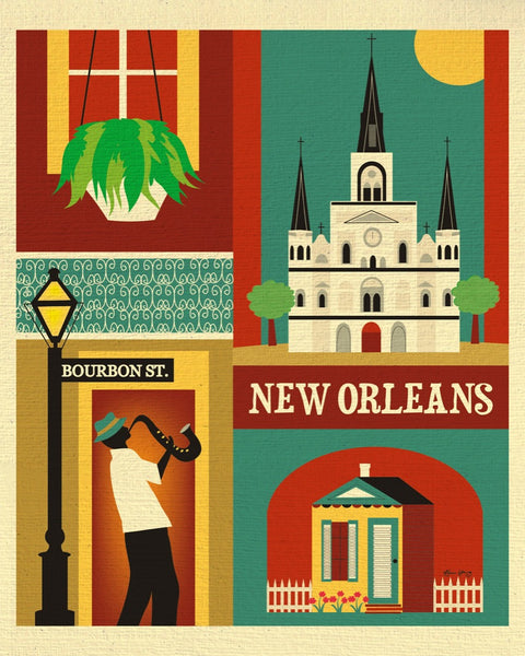 New Orleans art print, New Orleans Louisiana art collage illustration, Big Easy Print, NOLA print, Loose Petals city art by artist Karen Young, small New Orleans artwork, handmade New Orleans wedding gift, handmade New Orleans baby gift, New Orleans graduate gift, New Orleans housewarming gift, dorm art