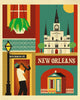 New Orleans art posters, New Orleans Louisiana poster, Big Easy Poster, NOLA poster print, Loose Petals city art by artist Karen Young, largeNew Orleans artwork, handmade New Orleans wedding gift, handmade New Orleans baby gift, New Orleans graduate gift, New Orleans housewarming gift, dorm art