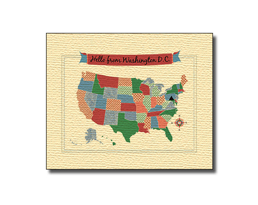 SALE of Hello From Washington DC USA Map Card