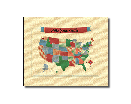 SALE of Hello From Seattle, Washington USA Map Card