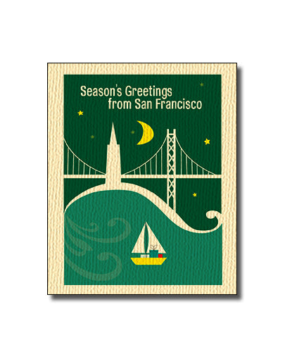 SALE of Bay Bridge Holiday Boat Card