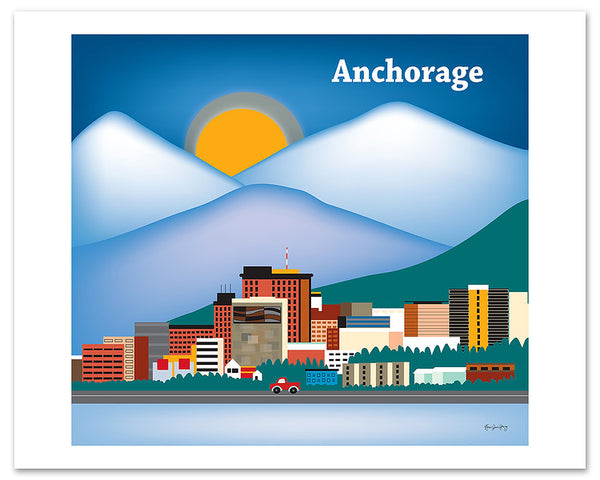 Anchorage, wall art posters by artist Karen Young, Loose Petals city art