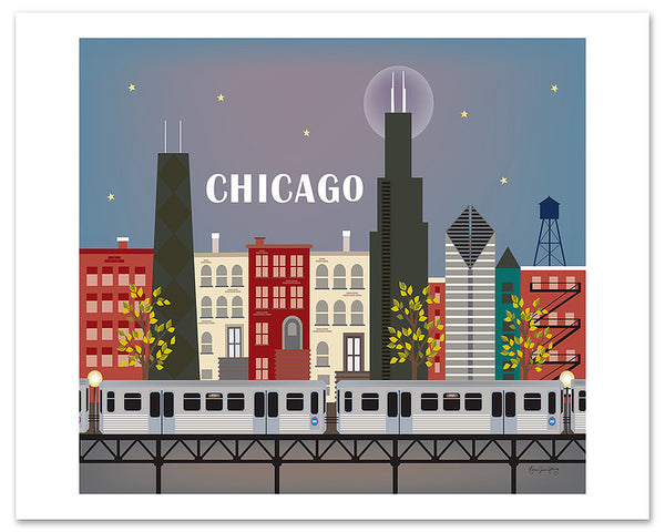 Chicago skyline poster, large Chicago poster, Chicago night print