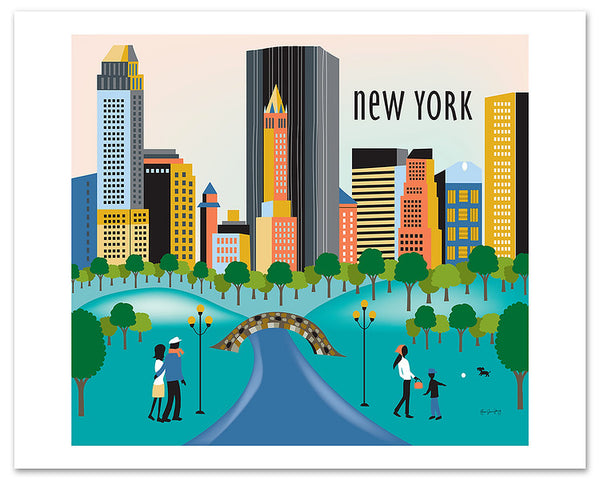 New York City skyline posters, New York Central Park posters, Karen Young artist, Loose Petals city art, handmade NYC gift, NYC nursery poster print, NYC wedding gift, NYC housewarming gift, quality NYC souvenirs, unique NYC posters, small NYC art posters, New York city corporate art, New York City Office Art