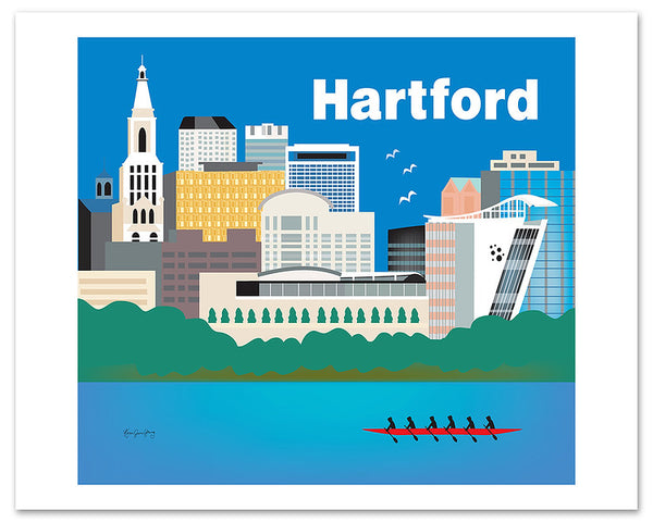 Hartford, Connecticut giclee poster, Hartford wall art