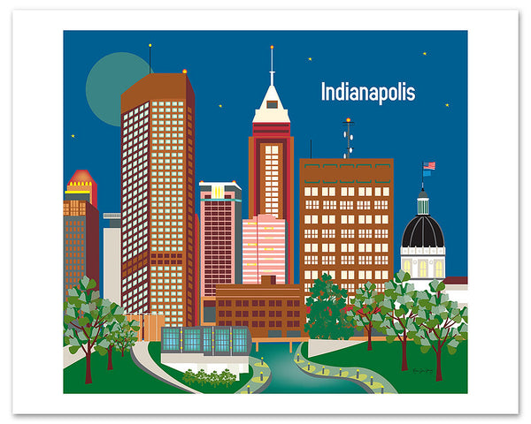 Indianapolis skyline poster, Indianpolis large poster, Indiana giclee poster, Karen Young Loose Petals city art poster