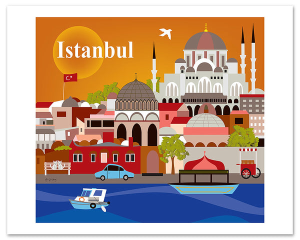 Istanbul travel poster, large giclee posters, Loose Petals City Art