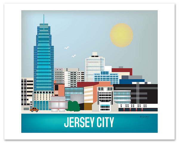 Jersey City skyline art poster, large Jersey posters, giclee New Jersey poster, Karen Young Loose Petals city art posters Jersey City