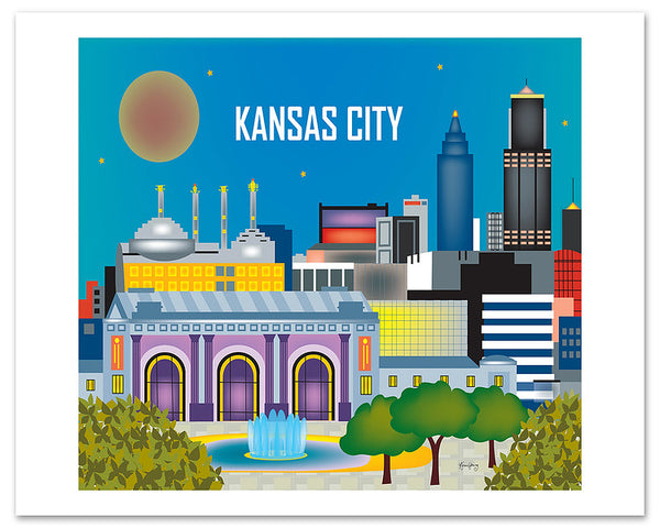 Kansas City posters, KC Missouri posters, Kansas City MS posters, giclee city posters, Heartland posters,  Karen Young Loose Petals City posters  Kansas City