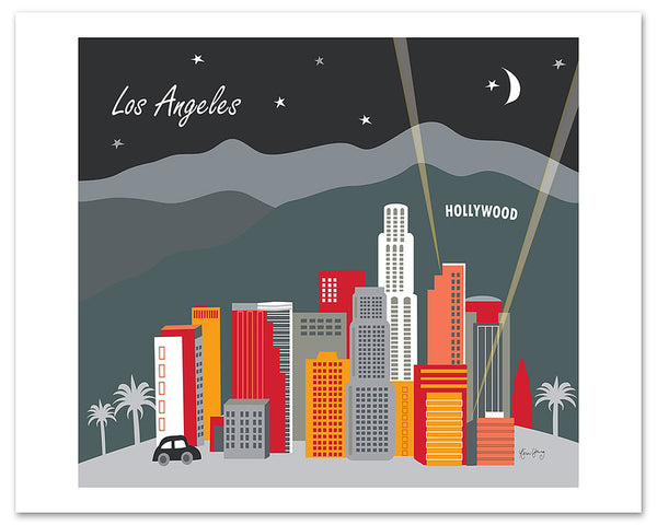 Loose Petals Los Angeles city art by Karen Young, Large giclee LA posters, city of the angles posters, Hollywood posters, bright LA posters, handmade LA gifts