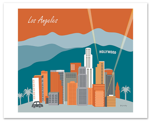 Los Angeles giclee art print, large Hollywood poster, LA wall art, Southern California artwork, Loose Petals city art by Karen Young, LA Sunset, terracotta and teal green colors