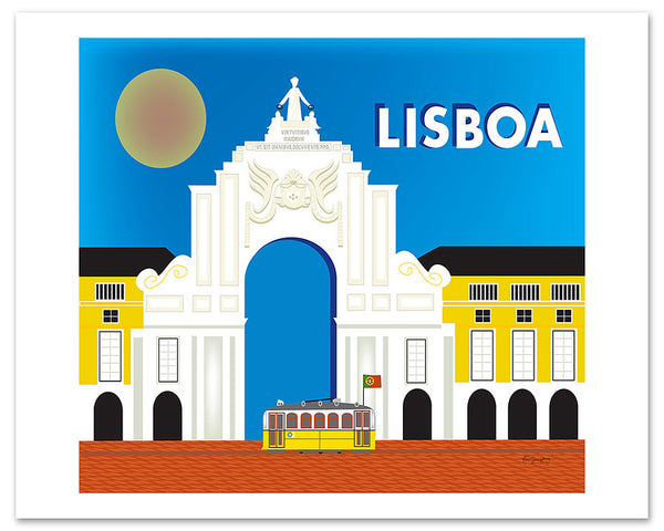 Lisboa poster,retro Portugal travel poster, Lisbon skyline poster, large city posters, Karen Young Loose Petals European city art posters