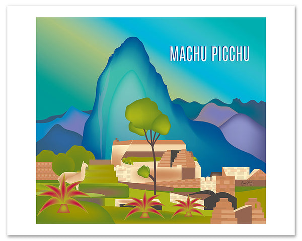 Machu Picchu skyline art poster, large Machu Picchu poster print, llama poster, Peruvian handmade art gift, Loose Petals city art by Karen Young, South American canvas, large Peru print, Travel Map