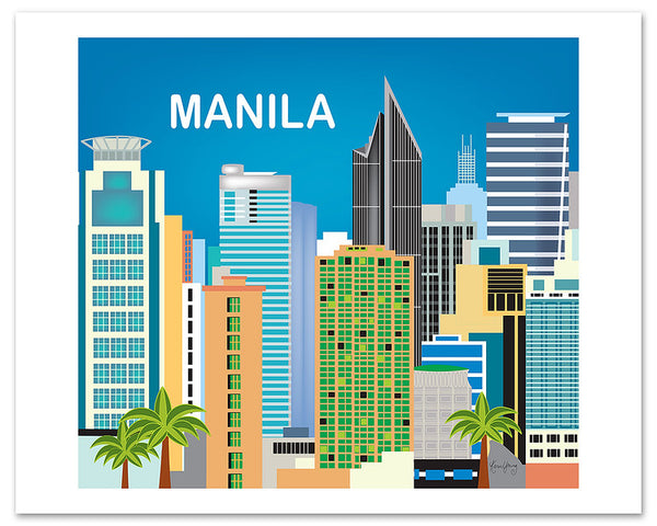 Manila posters, Manila skyline poster,  Philippino artwork, Karen Young Loose Petals City art print, giclee posters Manila, Asia, Phillipines
