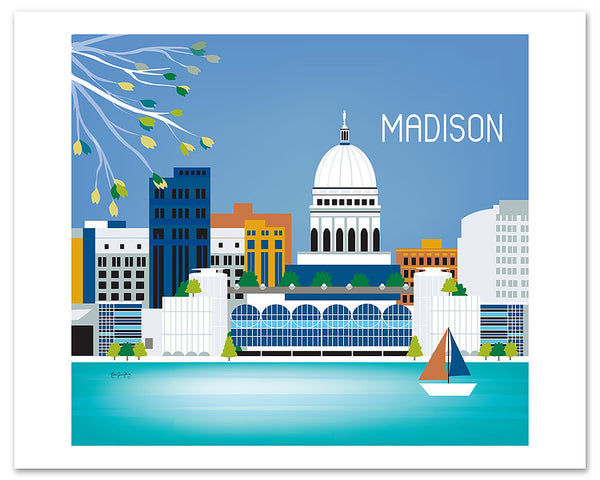Madison skyline poster, giclee poster, Madison Wisconsin poster, Madison Gift, Madison WI city wall art by Loose Petals, Karen Young, small madison wi posters, Midwest city art prints
