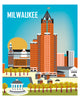 Milwaukee skyline art print, wall art, wall decor, Wisconsin print, Milwaukee vertical art, Karen Young Loose Petals city art gift, handmade Milwaukee gifts, quality Milwaukee souvenirs