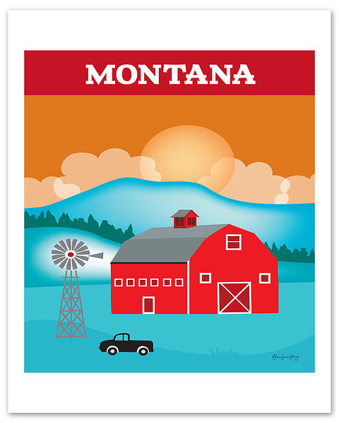 Montana posters, red Montana posters, barn posters, MT posters, Loose Petals wall art by Karen Young, handmade Montana gift, handmade Montana souvenirs, Montana poster prints, Montana wedding gift, Montana Nursery room art