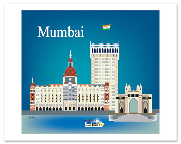 Mumbai skyline poster, 11x14, large India poster print, handcrafted Mumbai gifts, Mumbai souvenirs, Loose Petals city art by Karen Young, Mumbai wedding gift, Mumbai Nursery gift, Mumbai poster prints, Indian Housewarming Art Gift, India Retro Travel Poster