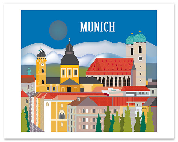 Munich skyline poster, Munich retro travel poster, large Munich posters for office, Loose Petals city art by artist Karen Young, Munich housewarming gift, handmade Munich gift, handmade Munich Baby gift, print on demand