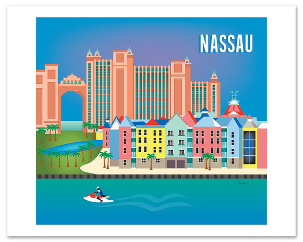 Nassau poster print, Nassau Bahama poster art, large Nassau posters, Loose Petals city art by artist, Karen Young, travel art, destination prints, handmade Bahamas gifts, handmade Nassau gift, print on demand art Loose Petals