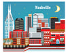 Nashville skyline poster, Nashville poster, large Nashville poster Art, handmade Nashville Souvenir, handcrafted Nashville Gift, Loose Petals city art by artist, Karen Young, print on demand art, Nashville office art, Nashville Wedding gift, Nashville nursery art, Nashville housewarming gift
