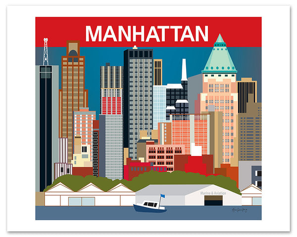 large Manhattan skyline poster, NYC skyline poster, blue Manhattan poster art, Manhattan giclee poster, Karen Young Loose Petals city wall art, NYC poster, NYC wedding gift, NY nursery, NYC boys room, NYC office posters, Large Manhattan Skyline Wall Art, NYC corporate art