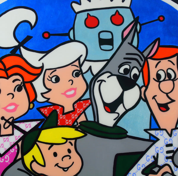 "The Jetsons Cartoon Artwork x Luxury Wall Art x Epoxy Resin Finish x Acrylic Paint on Wood x ""Where The Mall At"""