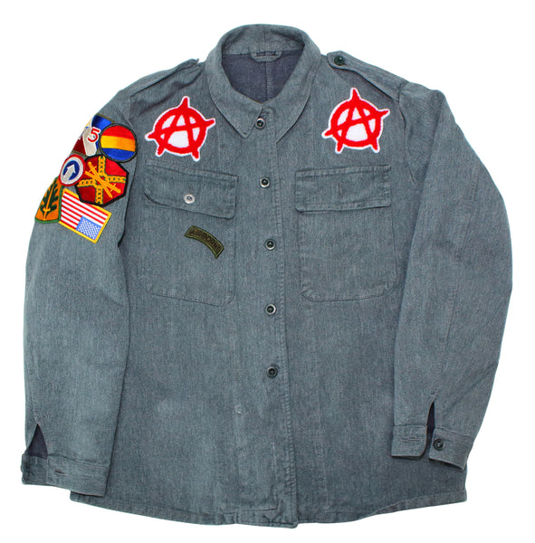 vintage denim - military fashion - Swiss denim jacket - street wear apparel