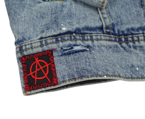 Anti Everything Denim Jacket - Custom Paint Splatter Trucker Jacket - American Anarchy Brand x Goocci Jean Jacket