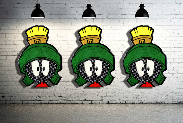 marvin the martian cartoon art home decor wall art resin artwork acrylic on wood