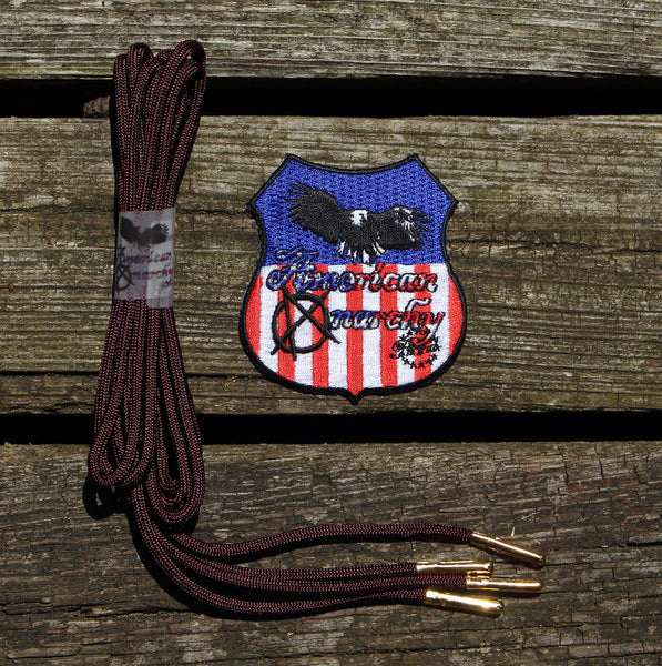 Maroon Paracord Shoelaces/ Gold Aglet Tipped laces by American Anarchy Brand