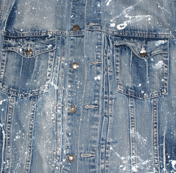 blue custom jean jacket - hand made - hand painted - street wear fashion
