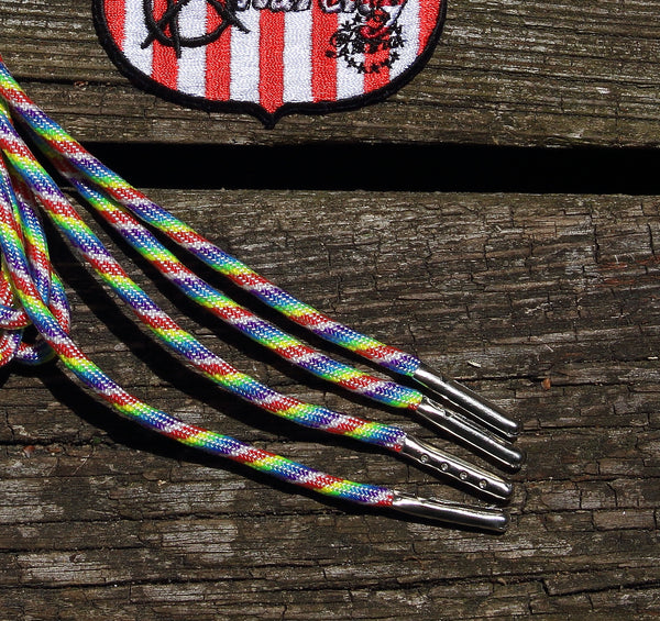 para-cord shoelaces - aglet tipped shoestrings - yeezy laces - rainbow strings